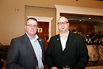 Waterbury, CT- 20 April 2017-042017CM09-  From left, Jon Schultz and Dave Sikes, both Waterbury firefighters, are photographed during The Rivera Memorial Foundation 17th annual scholarship awards banquet on Thursday, April 20th at La Bella Vista in Waterbury.   Christopher Massa Republican-American
