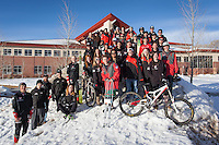 The Western Mountain Sports team poses in front of University Center.