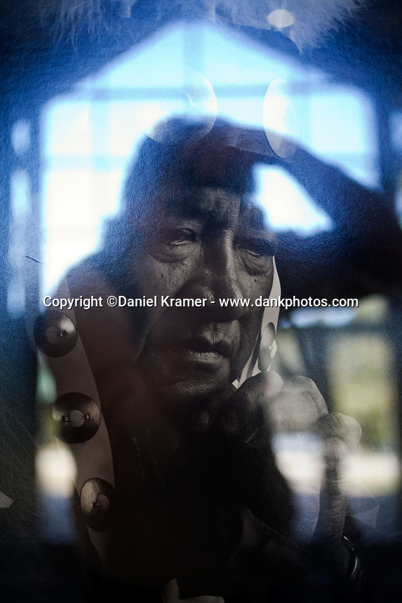 Self portrait with a portrait of the recently deceased Alabama Coushatta Chief, 2013.