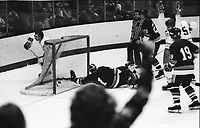 California Golden Seals vs New York Islanders, Seals #26 Bob Girard scores against Islander goalie Glenn Resch. (1975 Photo by Ron Riesterer)