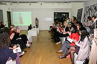 Fashion designer Yuna Yang speaks at the 85 Broads presentation of the Yuna Yang trunk show at Art Gate Gallery on October 24th 2011.