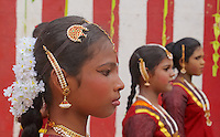 These girls are part of a local small school and getting ready for their performance on stage.Colombo,Sri Lanka.