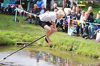 FIERLJEPPEN: GRIJPSKERK: 05-09-2015, NK Fierljeppen voor jeugd, winnaar Rutger Haanstra - It Heidenskip (jongens 11-12 jaar), ©foto Martin de Jong