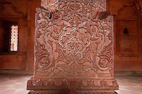 Fatehpur Sikri, Uttar Pradesh, India.  Decorative Carvings in Stone Pillar of the Diwan-i-Khas (Hall of Private Audience).