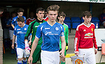 St Johnstone Academy v Manchester Utd Academy&hellip;.06.05.16  McDiarmid Park, Perth<br />Captains Nathan Brown and James Garner lead the teams out<br />Picture by Graeme Hart.<br />Copyright Perthshire Picture Agency<br />Tel: 01738 623350  Mobile: 07990 594431