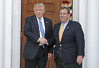 New Jersey Governor Chris Christie (L) shakes hands with United States President-elect Donald Trump at the clubhouse of Trump International Golf Club, in Bedminster Township, New Jersey, USA, 20 November 2016.<br /> Credit: Peter Foley / Pool via CNP /MediaPunch