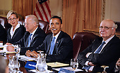 Chicago, IL - November 7, 2008 -- United States President elect Barack Obama (2-R) and Vice president elect Joseph Biden (2-L) meet with members of the Transition Economic Advisory Board including Michigan Governor Jennifer Granholm (L) and former Federal Reserve Chairman Paul Volcker (R) at the Hilton Hotel in downtown Chicago, Illinois, USA 07 November 2008. Obama later held his first news conference since winning the election..Credit: Tannen Maury - Pool via CNP