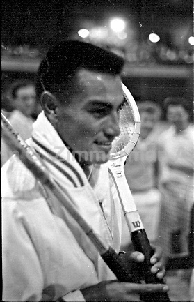 Peruvian-American tennis player Alex Olmedo at the National Indoor Tennis Championships, Seventh Regiment Armory, New York City, 1959. Photograph by John G. Zimmerman.