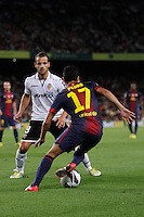 02/09/2012 - Liga Football Spain, FC Barcelona vs. Valencia CF Matchday 3 - Pedro, spanish winger for FC BArcelona, dribbles Soldado, spanish striker for VAlencia CF