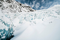 Winter morning on freshly snowed up main icefall of Franz Josef Glacier, Westland National Park, West Coast, New Zealand