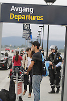 (Oslo July 22, 2011)Armed police at Gardermoen Airport north of Oslo. A large vehicle bomb was detonated near the offices of Norwegian Prime Minister Jens Stoltenberg on 22 July 2011. Although Stoltenberg was reportedly unharmed the blast resulted in several injuries and deaths.