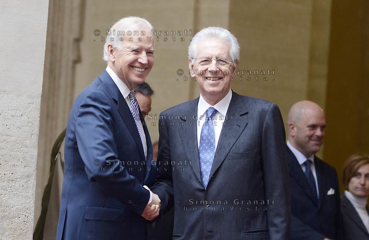 Roma, 18 Marzo 2013.Il Presidente del Consiglio Mario Monti incontra il Vicepresidente degli Stati Uniti d'America, Joe Biden..