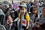 Palestinians take part a celebrate to mark the fourth anniversary of the Mavi Marmara Gaza flotilla incident, organized by the Turkish humanitarian relief IHH, at the seaport of Gaza City May 31, 2014. Eight Turks and a Turkish-American, died in an Israeli commando raid on the Mavi Marmara, a Turkish ship challenging Israel's naval blockade of Palestinian-run Gaza Strip in 2010. Photo by Mohammed Talatene