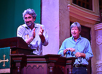 """CORAL GABLES, FL - SEPTEMBER 06: Mitchell Kaplan introduce author Dave Barry during Barry discussion and signing copies of his new book """" BEST. STATE. EVER.: A Florida Man Defends His Homeland """" At Coral Gables Congregational Church presented by Books and Books on September 6, 2016 in Coral Gables, Florida.  Credit: MPI10 / MediaPunch"""