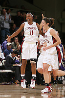 10 February 2007: Stanford Cardinal Candice Wiggins and Brooke Smith during Stanford's 80-54 win against the Washington Huskies at Maples Pavilion in Stanford, CA.