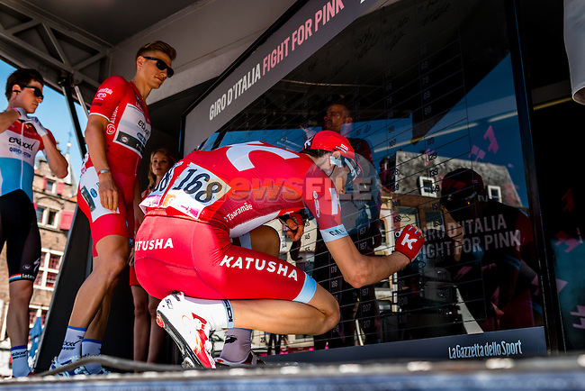 TAARAMÄE Rein from Estonia of Team Katusha (RUS) signing in before the start at Nijmegen, stage 3 from Nijmegen to Arnhem running 190 km of the 99th Giro d'Italia (UCI WorldTour), The Netherlands, 8 May 2016. Photo by Pim Nijland / PelotonPhotos.com | All photos usage must carry mandatory copyright credit (Peloton Photos | Pim Nijland)