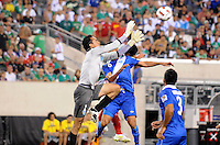 Guatemala goalkeeper Ricardo Jerez (1) goes up to save the play.  Mexico defeated Guatemala 2-1 in the quaterfinals for the 2011 CONCACAF Gold Cup , at the New Meadowlands Stadium, Saturday June 18, 2011.