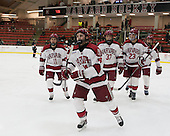 Kyle Criscuolo (Harvard - 11), Alexander Kerfoot (Harvard - 14), Desmond Bergin (Harvard - 37), David Valek (Harvard - 23), Kevin Guiltinan (Harvard - 6) - The Harvard University Crimson defeated the Princeton University Tigers 3-2 on Friday, January 31, 2014, at the Bright-Landry Hockey Center in Cambridge, Massachusetts.