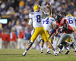 Ole Miss defensive end Cameron Whigham (55) vs. LSU quarterback Zach Mettenberger (8) at Tiger Stadium in Baton Rouge, La. on Saturday, November 17, 2012. LSU won 41-35.....
