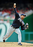 22 July 2012: Atlanta Braves pitcher Jair Jurrjens on the mound against the Washington Nationals at Nationals Park in Washington, DC. The Braves fell to the Nationals 9-2 splitting their 4-game weekend series. Mandatory Credit: Ed Wolfstein Photo