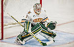 24 October 2015: University of Vermont Catamount Goaltender Mike Santaguida, a Junior from Mississauga, Ontario, in third period action against the University of North Dakota at Gutterson Fieldhouse in Burlington, Vermont. North Dakota defeated the Catamounts 5-2 in the second game of their weekend series. Mandatory Credit: Ed Wolfstein Photo *** RAW (NEF) Image File Available ***