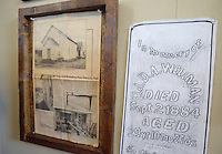 NWA Democrat-Gazette/BEN GOFF @NWABENGOFF<br /> A newspaper clipping and a grave marker rubbing hang in a historical display on Friday May 20, 2016 in celebration the 130th anniversary of Springdale Adventist Fellowship.