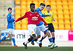 St Johnstone Academy v Manchester United Academy....17.04.15   <br /> Gavin Brown tackles Angel  Gomes<br /> Picture by Graeme Hart.<br /> Copyright Perthshire Picture Agency<br /> Tel: 01738 623350  Mobile: 07990 594431