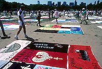 The AIDS Quilt on display in Central Park in June 1993.  Thirty years ago on June 5, 1981,The Centers for Disease Control  published it's first report on the HIV virus, which causes AIDS. The report detailed occurances of a disease that affected the immune system. (© Richard B. Levine)