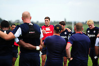 Matt Banahan of Bath Rugby speaks to his team-mates in a huddle. Bath Rugby pre-season training session on August 9, 2016 at Farleigh House in Bath, England. Photo by: Patrick Khachfe / Onside Images