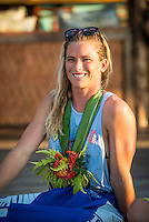 Namotu Island Resort, Nadi, Fiji (Saturday, May 28 2016):  Courtney Conlogue (USA) The Opening Ceremony of the 2016 Fiji Women's Pro was held today on Tavarua Is.There was a traditional welcome with a kava Ceremony and dancing. Girls from the different countries represented in the contest present the Chief with Kava root. Photo: joliphotos.com