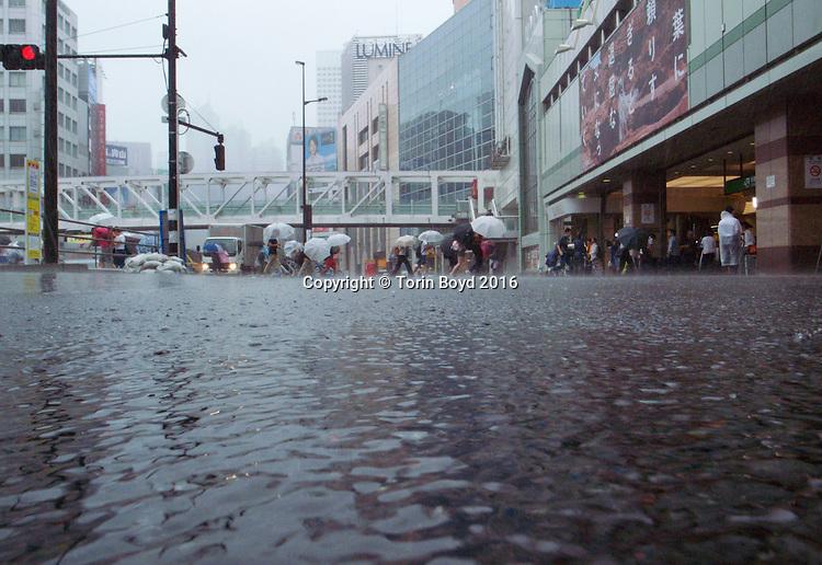 Typhoon Mindulle hits Tokyo 8/22/16