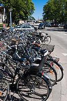 Row of bicycles parked in Copenhagen, Denmark.