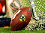 7 December 2008: An NFL Football rests on the practice netting on the sidelines prior to a game against the Miami Dolphins in the first regular season NFL game ever to be played in Canada. The Dolphins defeated the Bills 16-3 at the Rogers Centre in Toronto, Ontario. ..Mandatory Photo Credit: Ed Wolfstein Photo
