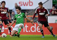 FUSSBALL   1. BUNDESLIGA   SAISON 2013/2014   7. SPIELTAG SV Werder Bremen - 1. FC Nuernberg                    29.09.2013 Santiago Garcia (li, SV Werder Bremen) gegen Niklas Stark (re, 1. FC Nuernberg)