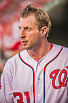 22 May 2015: Washington Nationals starting pitcher Max Scherzer in the dugout during a game against the Philadelphia Phillies at Nationals Park in Washington, DC. The Nationals defeated the Phillies 2-1 in the first game of their 3-game weekend series. Mandatory Credit: Ed Wolfstein Photo *** RAW (NEF) Image File Available ***