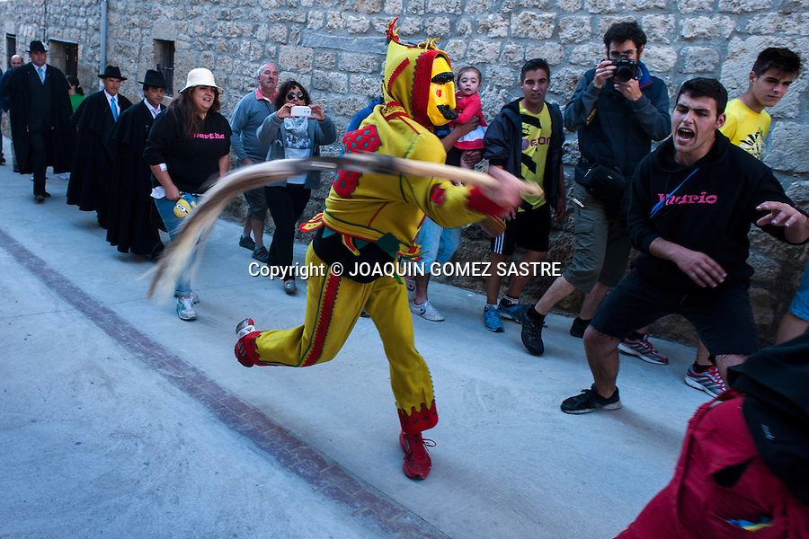 The colacho, burlesque pantomime representing the devil, chases children and people of the village of Castriillo of Murcia (Burgos) zurriego hitting them with a kind of whip