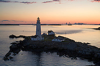 Sunset at Boston lighthouse, aerial, Boston, MA