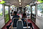 Commuters inside the monorail in Kuala Lumpur, Malaysia.