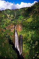 Aerial view of Waialae Falls (also known as Jurassic Park Falls), Kaua'i, Hawaii USA.