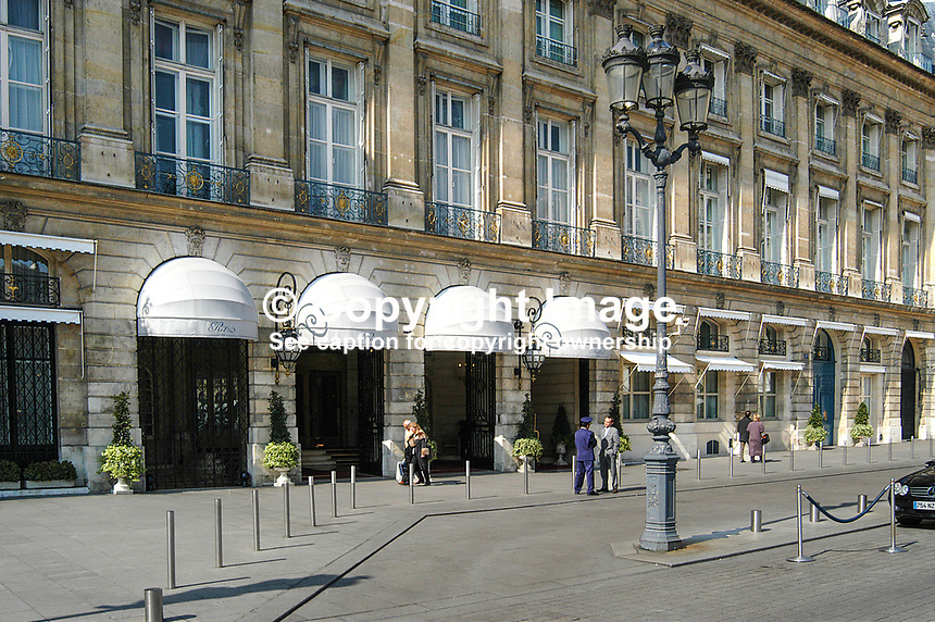 Ritz Hotel, Place Vendome, Paris, France (hotel has four white canopies). Ref: 200403294207.<br /> <br /> Copyright Image from Victor Patterson, 54 Dorchester Park, Belfast, UK, BT9 6RJ<br /> <br /> t1: +44 28 9066 1296<br /> t2: +44 28 9002 2446<br /> m: +44 7802 353836<br /> <br /> e1: victorpatterson@me.com<br /> e2: victorpatterson@gmail.com<br /> <br /> www.victorpatterson.com<br /> <br /> IMPORTANT: Please see my Terms and Conditions of Use at www.victorpatterson.com