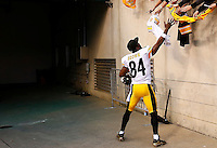 Antonio Brown #84 of the Pittsburgh Steelers high fives fans following their 33-20 win against the Cincinnati Bengals during the game at Paul Brown Stadium on December 12, 2015 in Cincinnati, Ohio. (Photo by Jared Wickerham/DKPittsburghSports)