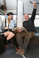 """NO FEE. 20/10/2010. Vintage CIE Double Decker Bus Makes One Last Stop . Beautiful 'conductor' Jane Kendlin and Dublin based bus enthusiast Ed O'Neil are pictured in full conductor's uniform to mark the launch oftwo new books on CIE Buses in the 1970's and 1980's, avintage CIE double decker bus, outside the Mansion House on Dawson Street, Dublin.he coffee table books have been published by PRC Publications, a new transport publications company based in Dublin, and feature a miscellany of photographs of Irish buses and street scenes in both rural and urban locations, taken by Ed O'Neill from mid 1970 to mid 1980. A self-confessed """"bus nut"""", O'Neill has compiled the two books which will appeal to both enthusiasts and the general public alike. Urban street scenes, including traffic on Dublin's Grafton Street, will remind readers of a time long gone when traffic regulations were far more relaxed and beautiful buildings stood tall, many of which are sadly no longer in existence. The books, 'CIE Buses in the 1970s and 80s - Double Deckers' and 'CIE Buses in the 1970s and 80s - Single Deckers'are priced at EUR25.00 per book (or both books for EUR45.00) and are available from Mark's Models branches or online atwww.prcpublications.com. Picture James Horan/Collins Photos"""