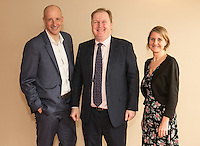 From left are Anthony Clark of Riverside Financial with speaker Jake Kelly, MD of East Midlands Trains and Ruth Swain of Actons