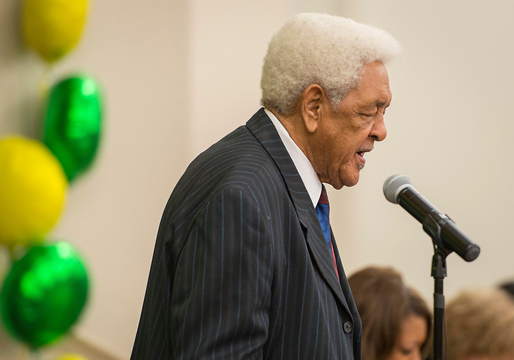 Reverend A.I. Mallett, Sr. comments during a dedication ceremony at Fonwood Early Childhood Center, May 3, 2017.