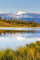 Mt Brooks of the Alaska range reflects in Wonder Lake, Denali National Park, Alaska.