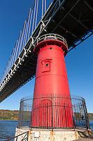 Jeffrey's Hook Lighthouse on the Hudson River, under the George Washington Bridge
