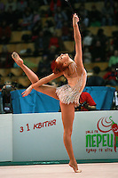 "Natalya Godunko of Ukraine performs with clubs during seniors All-Around at 2007 World Cup Kiev, ""Deriugina Cup"" in Kiev, Ukraine on March 17, 2007."
