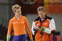 SCHAATSEN: SALT LAKE CITY: Utah Olympic Oval, 14-11-2013, Essent ISU World Cup, training, Jorrit Bergsma (NED), Jillert Anema (trainer/coach BAM Schaatsteam), ©foto Martin de Jong