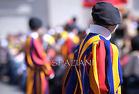 ; Pontifical Swiss Guard; Swiss Guard; Guardia Svizzera; Pontifical Swiss Guard; Guardia Svizzera Pontificia; Pope Francis during his weekly general audience in St. Peter square at the Vatican, Wednesday.May 14, 2014.