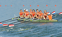 Brest, Belarus.  NED M8+, at the start, 2010. FISA U23 Championships. Friday,  23/07/2010.  [Mandatory Credit Peter Spurrier/ Intersport Images]